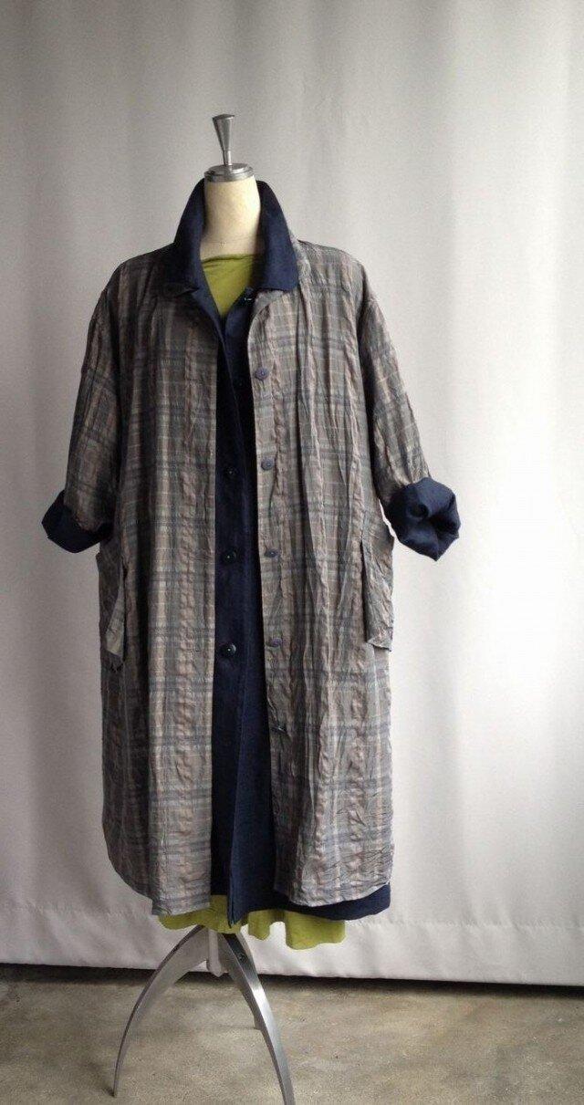 ゆったりなコートドレス・チェックの画像1枚目