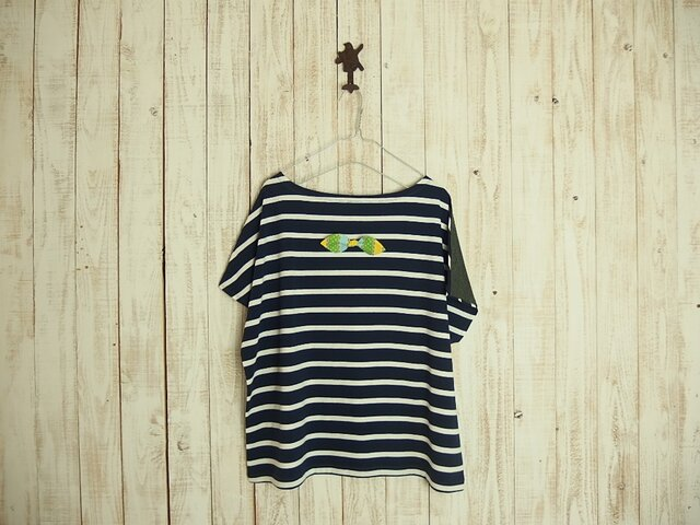 どっちもTシャツ(リボン)/紺白ボーダー×チャコールグレーの画像1枚目