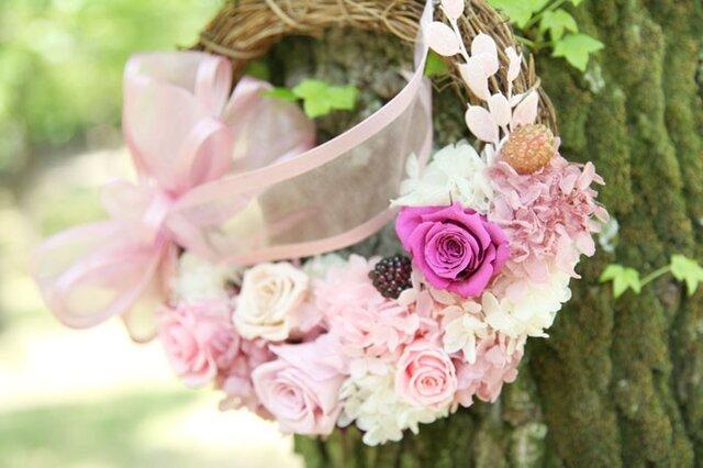 ピンクのリース★大きなリボンがかわいいの画像1枚目