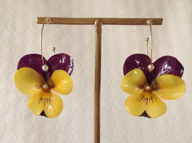 染め花を樹脂加工したビオラのフープピアス(M・紫黄色)の画像1枚目