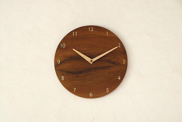 掛け時計 丸 チーク材の画像1枚目