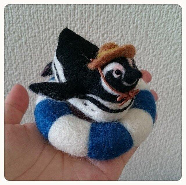 羊毛フェルト・浮き輪でくつろぐペンギンくんの画像1枚目
