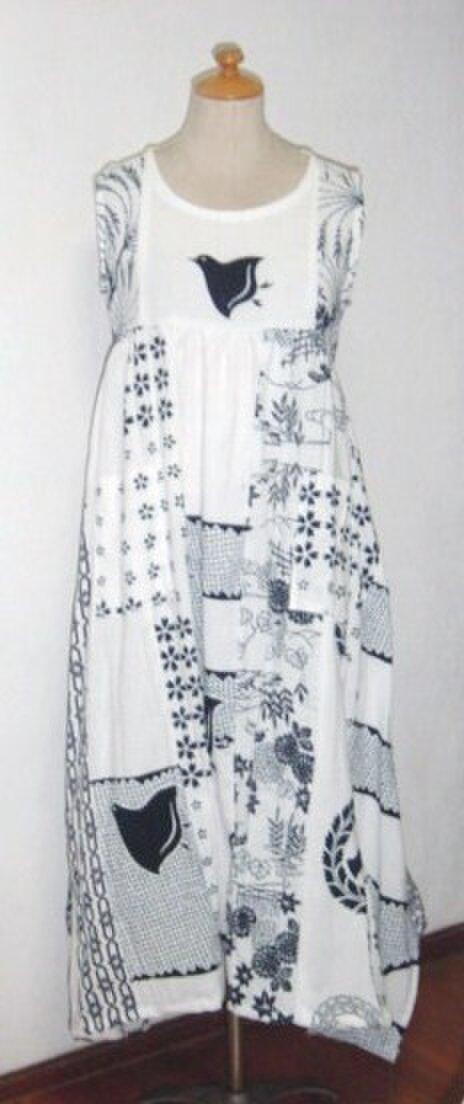 Sold Out浴衣リメイク♪レアーな千鳥が可愛い浴衣ワンピース♪裾変形の画像1枚目