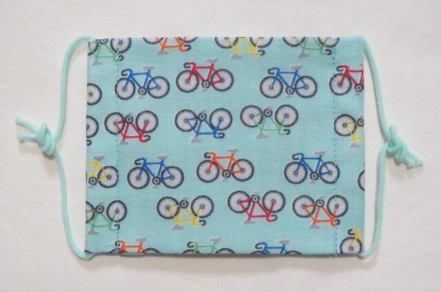 子供マスク小学生サイズ  自転車 水色の画像1枚目