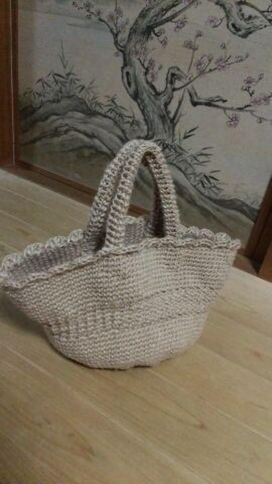 手編み*麻ひもバッグの画像1枚目