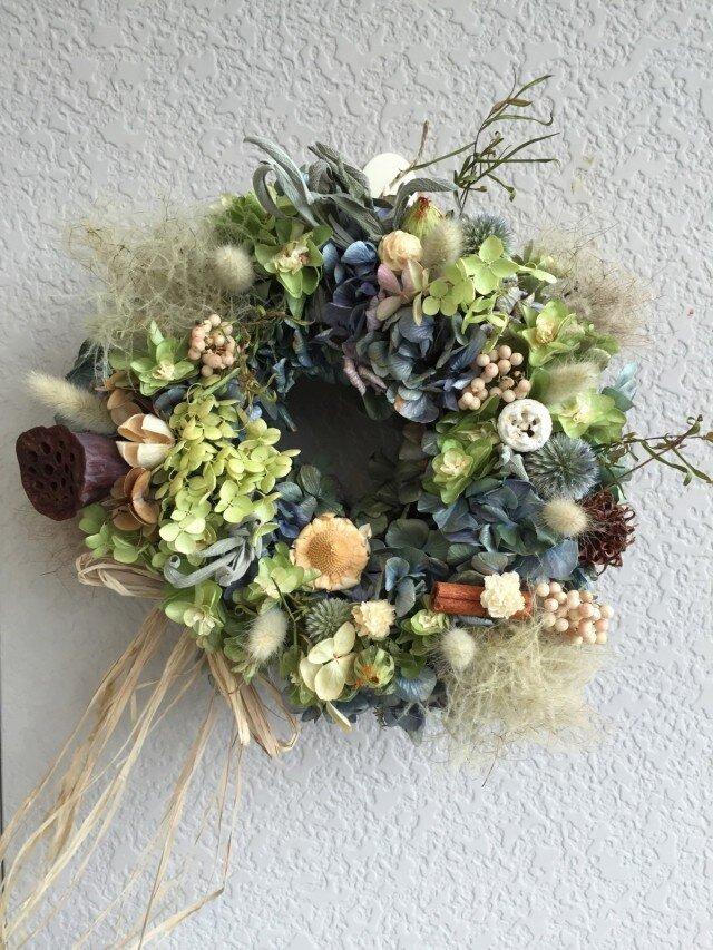 ふわふわと紫陽花と木の実の画像1枚目