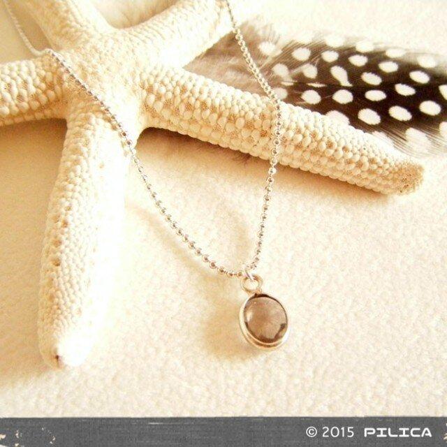 [再販]Silver925製 スモーキークォーツのプチネックレスの画像1枚目