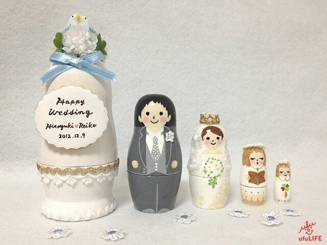 Happy Wedding マトリョーシカ(幸せの青い鳥)の画像1枚目