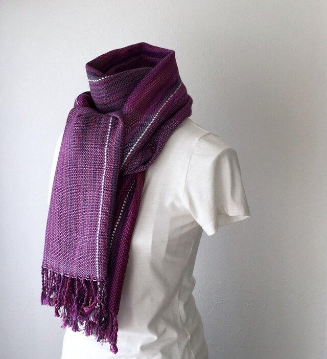 """【綿:オールシーズン】ユニセックス:手織りストール """"Purple Stripe 5""""の画像1枚目"""