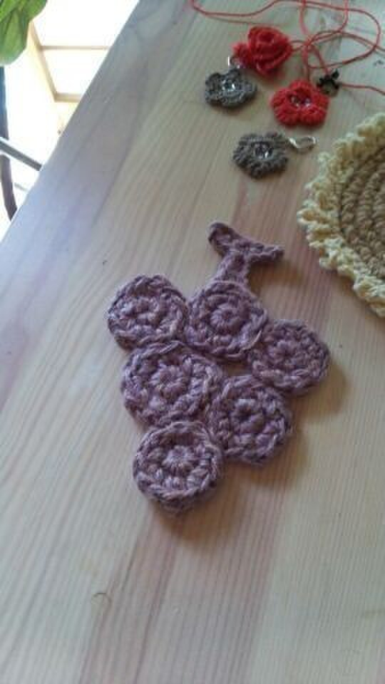 手編み*草木染め*ぶどうのコースター♪の画像1枚目