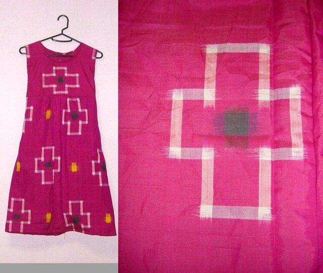 着物リメイク★ラブリーピンク十字絣銘仙チュニックワンピースの画像1枚目
