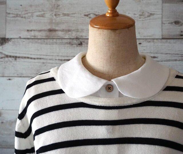 リネン生地シャツ型丸襟の付け襟の画像1枚目