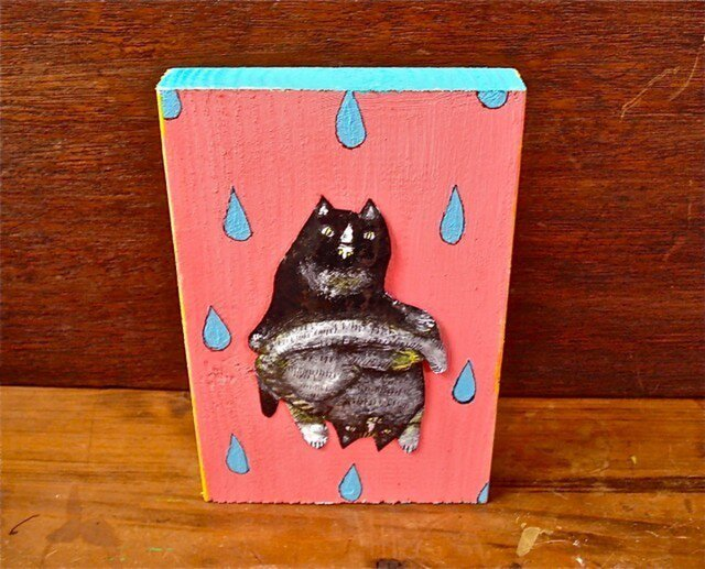 wood painting ★  two catsの画像1枚目