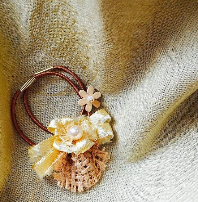 【noilmok】麦わらと向日葵のヘアゴムの画像1枚目