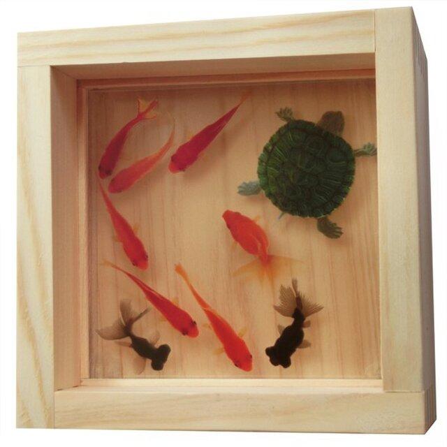 ひのきアート 樹脂金魚 金魚 亀 「寿」 プレゼント 誕生日 結婚 退職 還暦 祝い 男性 女性 置物 玄関 インテリアの画像1枚目