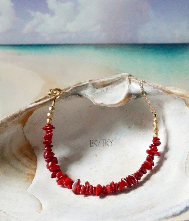 スカーレットレッドが美しい珊瑚のブレスレットの画像1枚目