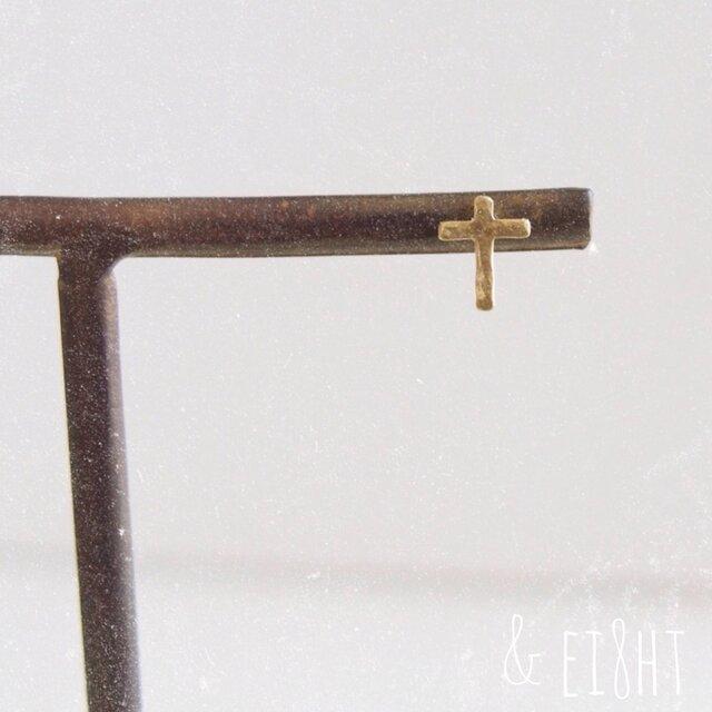 【再販】- Brass - Mini Cross ピアスの画像1枚目