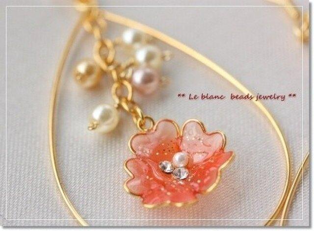 フラワーフープピアス(pink&orange)の画像1枚目