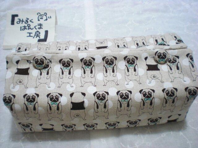 ティッシュカバー ぶちゃ犬 ベージュの画像1枚目