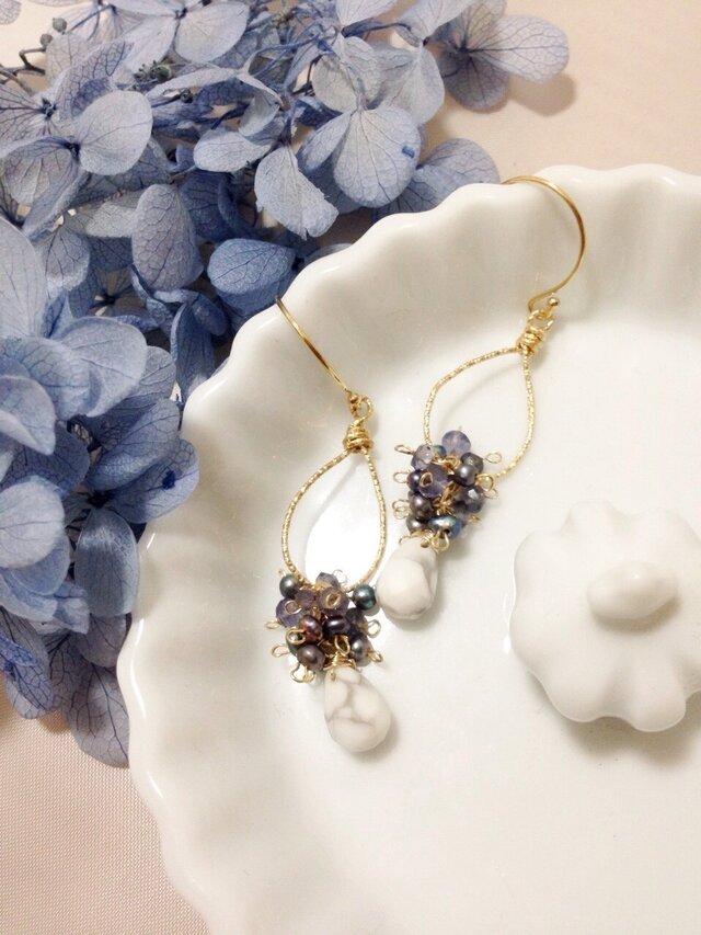 14kgf【jewelry series】drop×ハウライトの画像1枚目