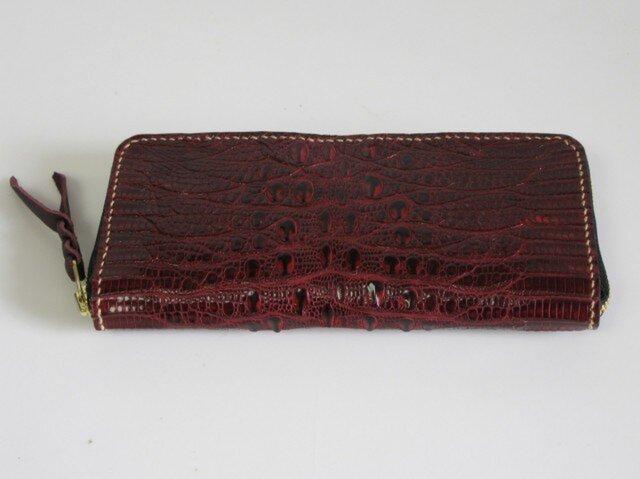 手縫い ジャグルシーのラウンドファスナー仕様の長財布の画像1枚目