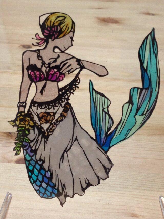 切り絵・人魚姫の画像1枚目