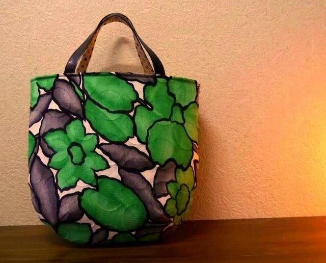 緑のお花バッグの画像1枚目