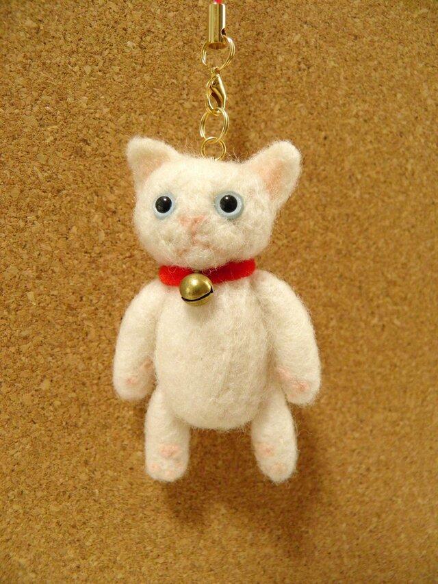 小さな小さな子猫ちゃん(白猫)ドールストラップの画像1枚目