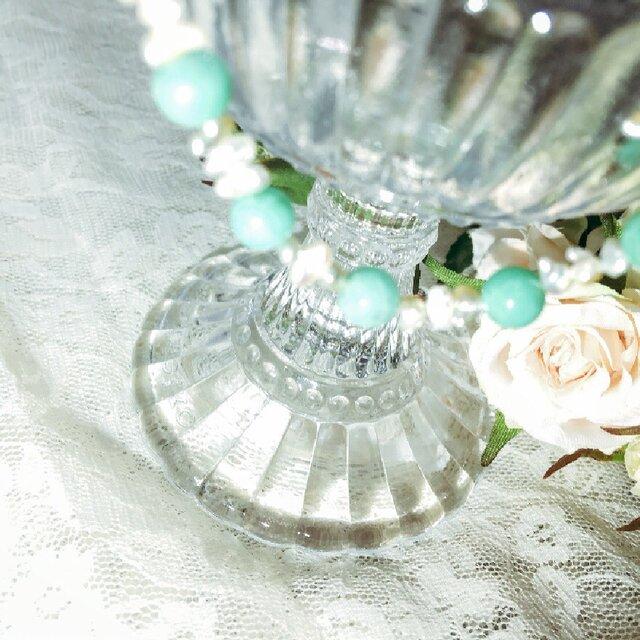 アコヤガイケシ真珠とクリソプレーズのマクラメ編みブレスレットの画像1枚目