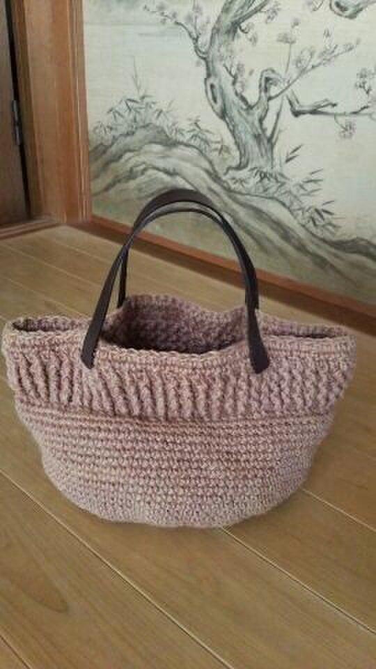 草木染め*手編み*ぶどうの麻バッグの画像1枚目