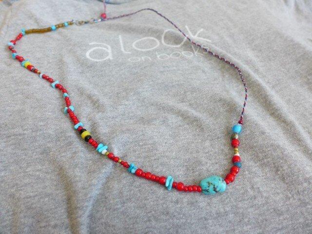 三つ編みワックスコード3*ホワイトハーツ3 ロングネックレスの画像1枚目