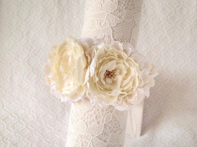 染め花のリストレット(M・オフホワイト)の画像1枚目