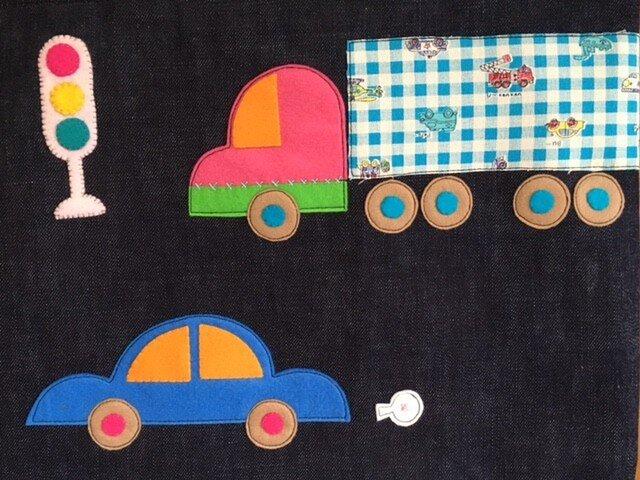 自動運転の時代がやってきた!じどうしゃ柄のレッスンバッグデニムの画像1枚目