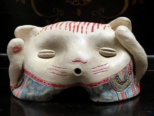 彩門縄文様古代色猫土偶#Dの画像1枚目