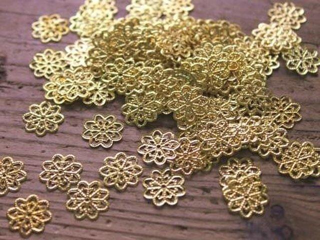 透かしパーツお花14mm【100個】50個×2袋ゴールドの画像1枚目