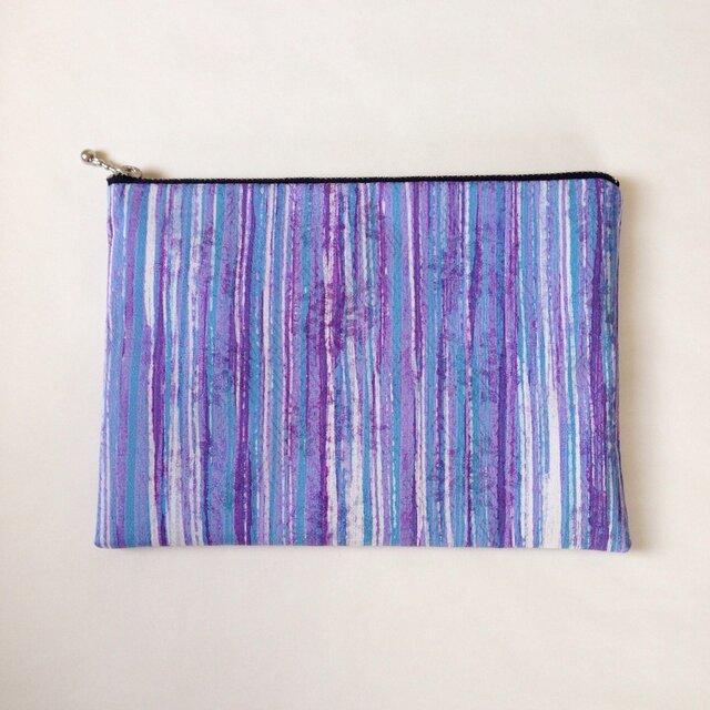 絹手染ポーチ大(15cm×21cm 縦・紫系)の画像1枚目
