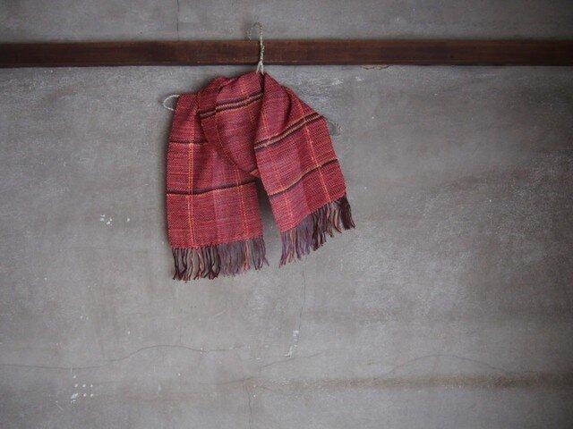 手織り/cottonマフラー 茜に染 (+orimi)の画像1枚目