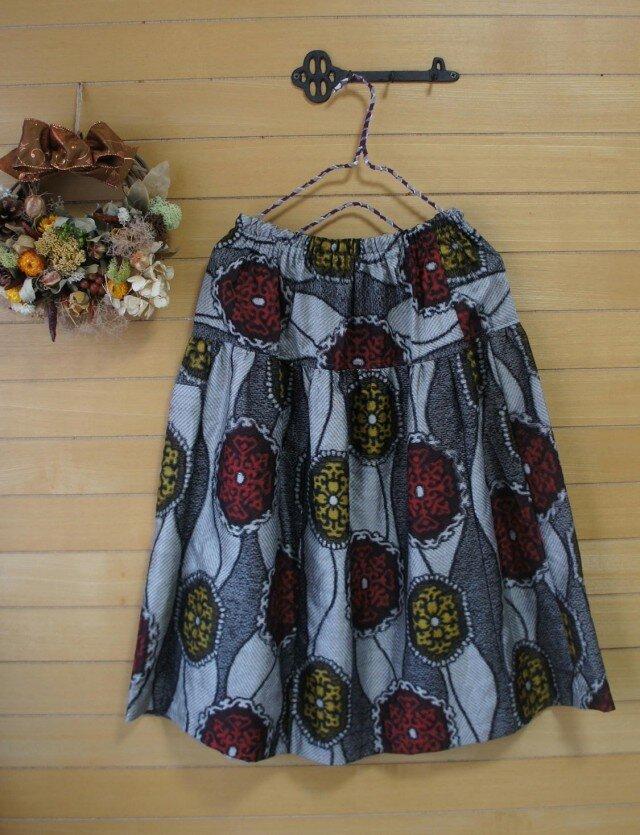 展示 銘仙 縦涌紋 ふんわりギャザースカート 着物リメイク の画像1枚目