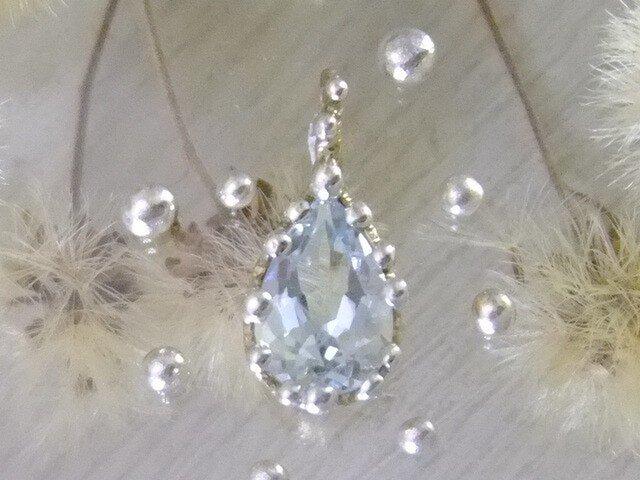 アクアマリン*純銀粒々K14トップの画像1枚目