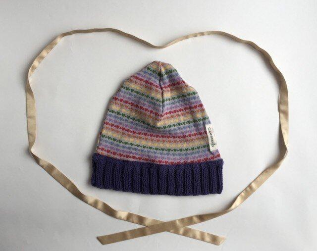 ハートいっぱい♡ ニット帽 ブルーの画像1枚目
