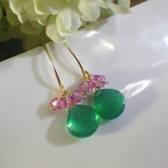Sold:【再販2】グリーンオニキス×ピンクトパーズのマーキスピアスの画像1枚目