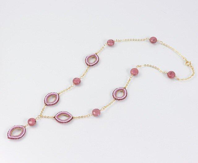 ピンクのY字ネックレス・ロードナイトの画像1枚目