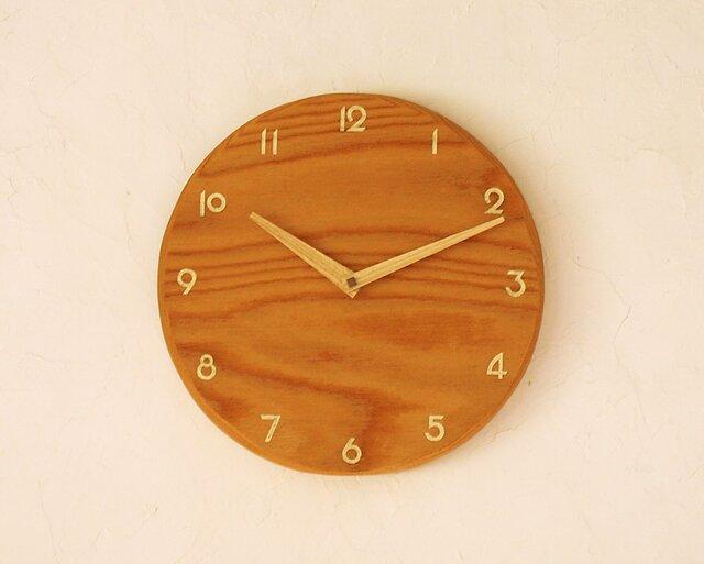 掛け時計 丸 けやき材②の画像1枚目