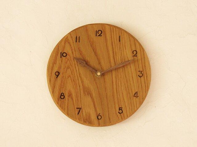 掛け時計 丸 楢材①の画像1枚目