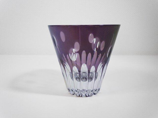 切子グラス プルメリア(紫)の画像1枚目