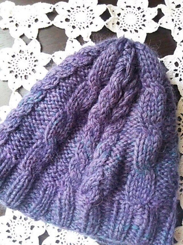 価格変更 紫と青の落ち着きニット帽の画像1枚目