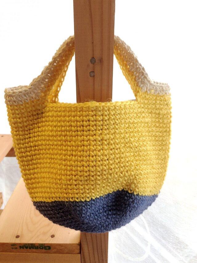 mini mini 麻ひもバッグ * yellow & blueの画像1枚目
