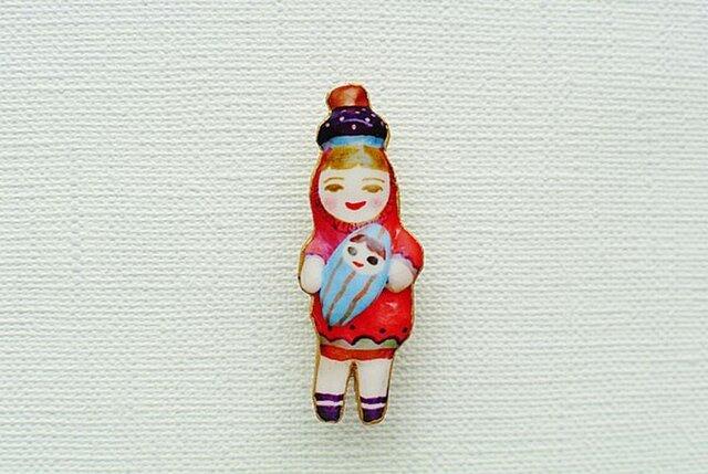 みずいろ人形と出かけるひとブローチの画像1枚目