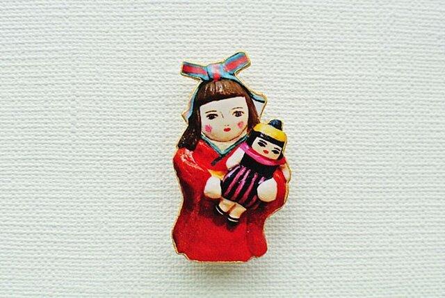 お人形さんと着物乙女ブローチの画像1枚目