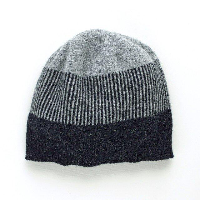 ボーダーニット帽 グレーの画像1枚目